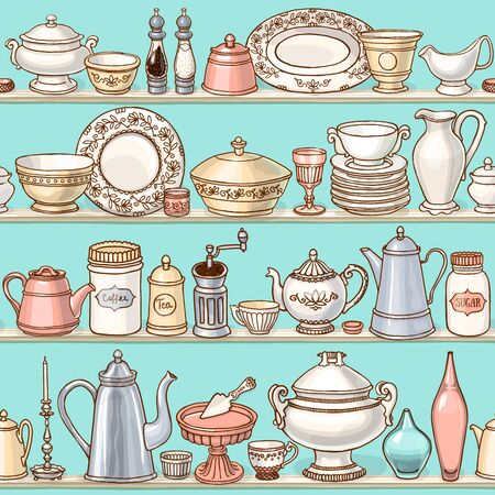 Shabby chic kitchen vector seamless pattern with cooking items. Hand drawn food and drink background in retro style. Vector illustration of side view sketchy tabelewear on shelves.