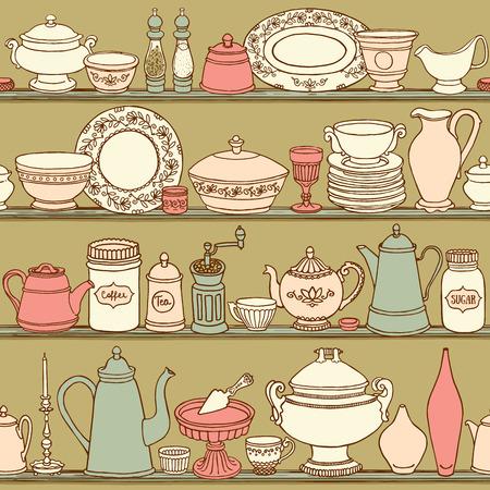 ぼろぼろのシックなキッチン調理道具とシームレスなパターンをベクトル。手の描かれた食品とレトロなスタイルの背景を飲みます。側のベクトル