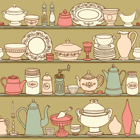 Shabby chic kitchen vector seamless pattern with cooking items. Hand drawn food and drink background in retro style. Vector illustration of side view sketchy kitchenwear on shelves.