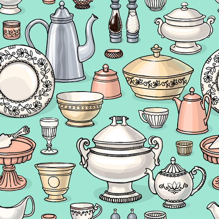 Shabby chic style kitchen vector seamless pattern with cooking items. dishes background in black and white.
