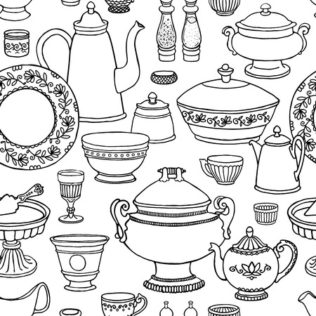 Shabby chic kitchen vector seamless pattern with cooking items. Hand drawn food and drink outline background in black and white. Vector illustration of side view sketchy dishware.