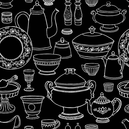 blackboard background: Shabby chic kitchen vector seamless pattern with cooking items. Hand drawn food and drink outline background in black and white. Vector illustration of side view sketchy dishware on blackboard.