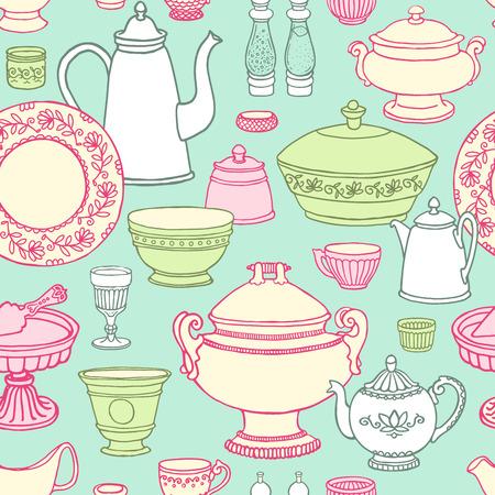 ぼろぼろのシックなキッチン調理道具とシームレスなパターンをベクトル。パステル カラーで描かれた食べ物を手飲んだり。側のベクトル イラスト  イラスト・ベクター素材