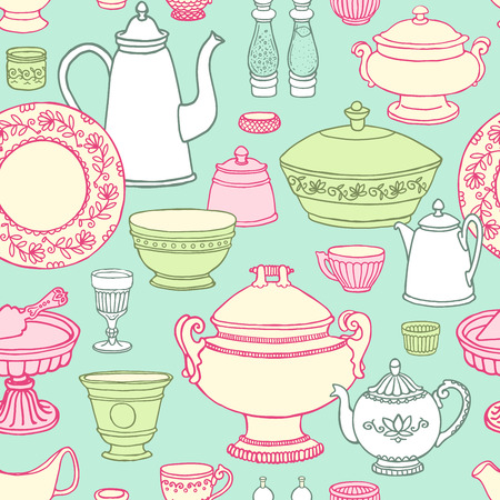 Shabby chic kitchen vector seamless pattern with cooking items. Hand drawn food and drink in pastel colors. Vector illustration of side view sketchy dishware.