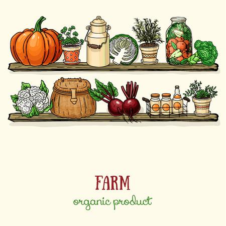 背景の棚やキッチンで kitchenwear のファーム野菜をデザイン。カボチャ、ポット、キャベツ、jar、ビート、ブロッコリーとベクトル カラー有機食品ス  イラスト・ベクター素材