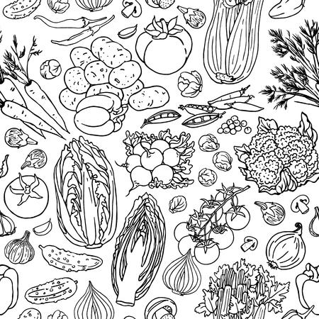 野菜の大ざっぱなシームレス パターン。黒と白の落書きベクトル食品背景