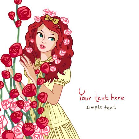 美しい少女と花のベンチとベクトル図です。ポストカード、グリーティング カードに使用できます。