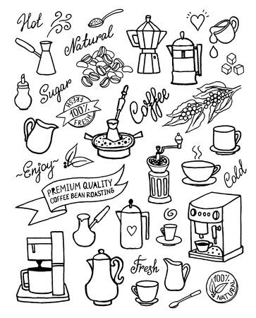 手のコーヒー、食材、料理、コーヒーのためのデバイスと設定描画ベクトル。デザイン、カフェのメニューのパンフレット、チラシ、白い背景で隔