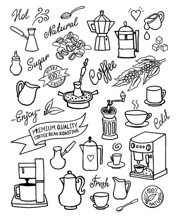 Hand drawn vector set with coffee, ingredients, dishes, devices for coffee making. Isolated on white background for design, cafe menu, brochure, fliers