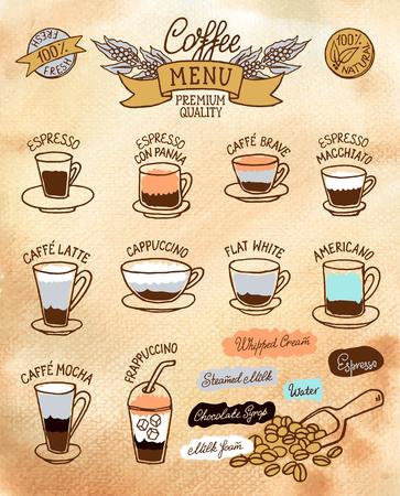 コーヒーの種類とその準備インフォ グラフィック。カフェ メニューのパンフレット、チラシのベクトル水彩 sketh レトロ スタイルのデザイン