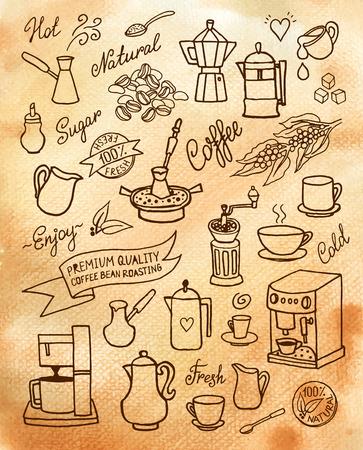 手描きの背景の水彩画セット コーヒー、食材、料理、デザイン、カフェのメニューのパンフレット、チラシのコーヒーのためのデバイス  イラスト・ベクター素材