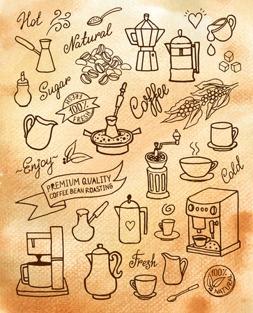 Hand drawn vector watercolor set with coffee, ingredients, dishes, devices for coffee making for design, cafe menu, brochure, fliers