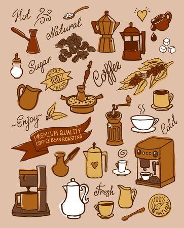 コーヒー、食材、料理、デザイン、カフェのメニューのパンフレット、チラシのコーヒーのためのデバイスとセットの手描きの背景スケッチ