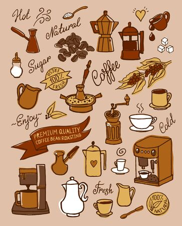 Hand drawn vector sketch of set with coffee, ingredients, dishes, devices for coffee making for design, cafe menu, brochure, fliers