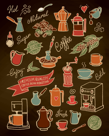 Hand drawn vector coffee set, with coffee, ingredients and devices for coffee making. For cafe menu, brochure, fliers Ilustração