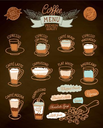 コーヒーの種類とその準備インフォ グラフィック。カフェ メニューのパンフレット、チラシのベクトル sketh レトロ スタイルのデザイン