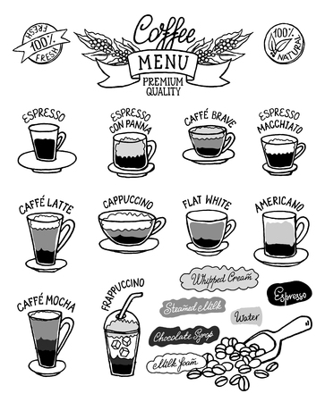 Black and white sketchy infographic with coffee types and their preparation. Can use for cafe menu, brochure, fliers