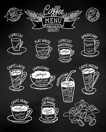 黒と白のコーヒーの種類とそれらの準備黒板の大ざっぱなインフォ グラフィック。カフェ メニューのパンフレット、チラシに使用することができま  イラスト・ベクター素材