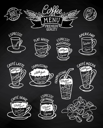 Black and white sketchy infographic with coffee types and their preparation on blackboard. Can use for cafe menu, brochure, fliers