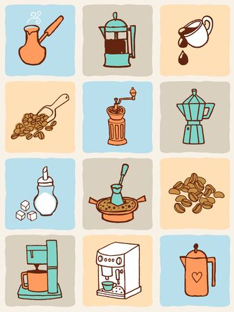 ベクトル イラスト コーヒーのアイコンを設定します。アートコレクティブ スタイル