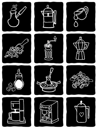 scetch: Vector illustration coffee icons set on blackboard. Scetch style
