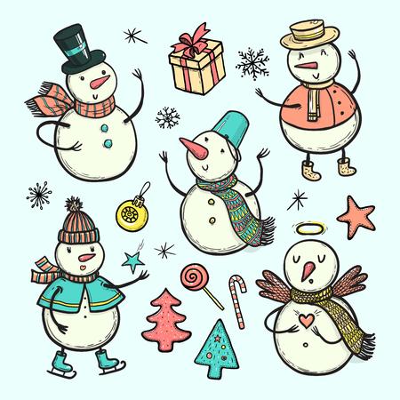 ベクトルは落書き休日雪だるま、クリスマス ツリー、キャンディー、雪の結晶、プレゼントのイラストです。白い背景で隔離の異なる衣装で面白い  イラスト・ベクター素材