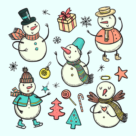 Vector doodle illustration of holidays snowman with Christmas tree, candy, snowflakes, gifts. Funny snowmen in different costumes isolated on white background. Christmas and New Year set for design.