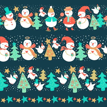 Vector holidays set of borders with funny snowman and birds dressed in various costumes with Christmas tree, gifts, harts. Christmas and New Year red, blue, green colors frames for design.