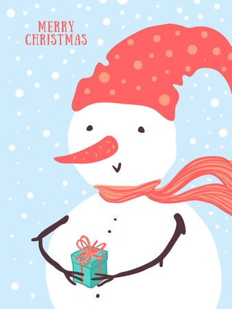 Vector Christmas card design with holidays funny snowman, gift, snowflakes. Christmas and New Year background for design