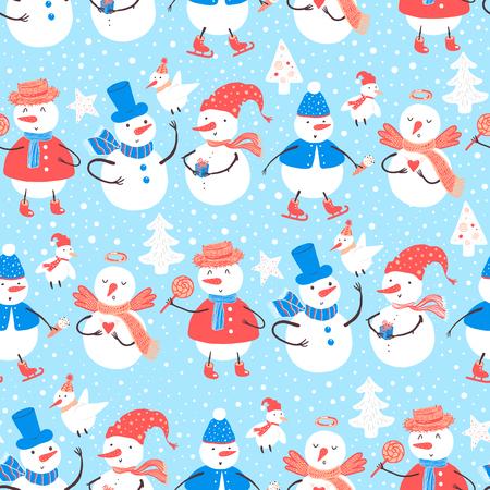 雪だるま、クリスマス ツリー、キャンディー、鳥、雪の結晶、プレゼントとベクトルの休日パターン。デザインのクリスマスと新年のテンプレート  イラスト・ベクター素材