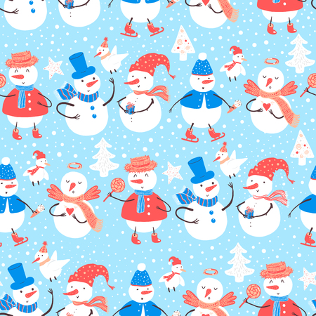 Vector holidays pattern with snowman, Christmas tree, candy, birds, snowflakes, gifts. Christmas and New Year template for design. Ilustração