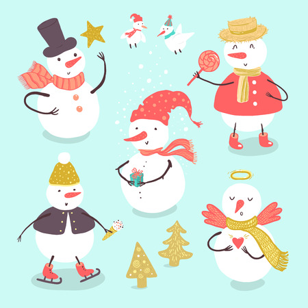 Vector illustration of holidays snowman with Christmas tree, candy, snowflakes, gift. Christmas and New Year set for design. Ilustração