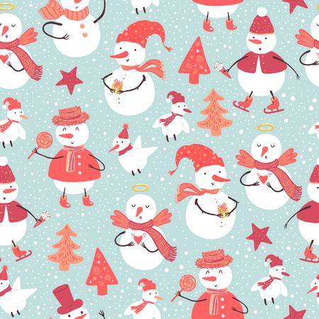 面白い雪だるまや鳥の休日パターンはクリスマス ツリー、プレゼント、ハーツと様々 な衣装に身を包んだ。デザインの背景をクリスマスと新年。  イラスト・ベクター素材