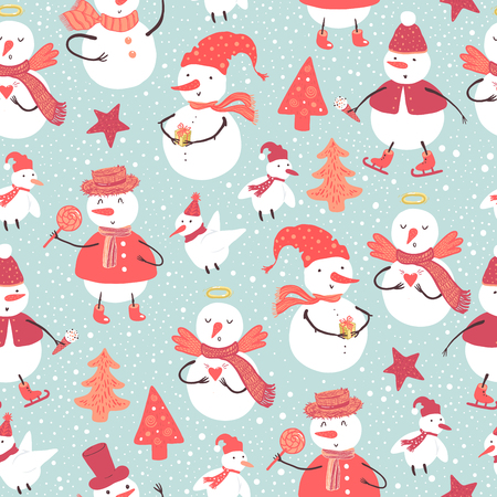 Holidays pattern of funny snowman and birds dressed in various costumes with Christmas tree, gifts, harts. Christmas and New Year background for design.