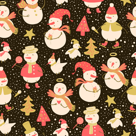 Holidays pattern of funny snowman and birds dressed in various costumes with Christmas tree, gifts, harts. Christmas and New Year background for design Ilustração