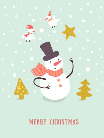 Christmas card design with holidays funny snowman, Christmas tree, snowflakes, birds. Christmas and New Year background for design.