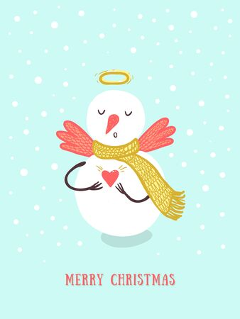 Christmas card design with holidays funny snowman, angel, snowflakes, hart. Christmas and New Year background for design Ilustração