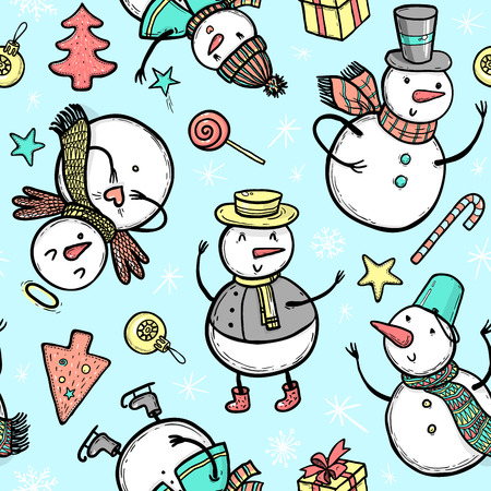 Vector holidays pattern with snowman, Christmas tree, candy, snowflakes, gifts. Christmas and New Year template for design. Ilustração
