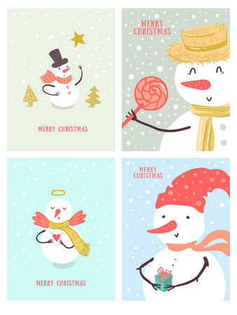 Christmas card design with holidays snowman, Christmas tree, candy, snowflakes, gift. Christmas and New Year background set for design.