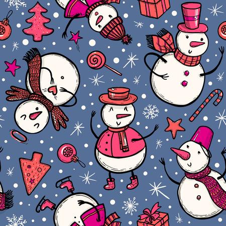 雪だるま、クリスマス ツリー、キャンディー、雪の結晶、プレゼントの休日パターンのベクトル イラスト。デザインのクリスマスと新年のテンプレ