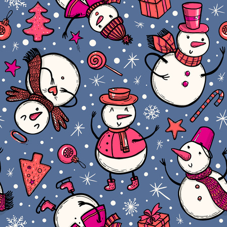 Vector illustration of holidays pattern with snowman, Christmas tree, candy, snowflakes, gifts. Christmas and New Year template for design.
