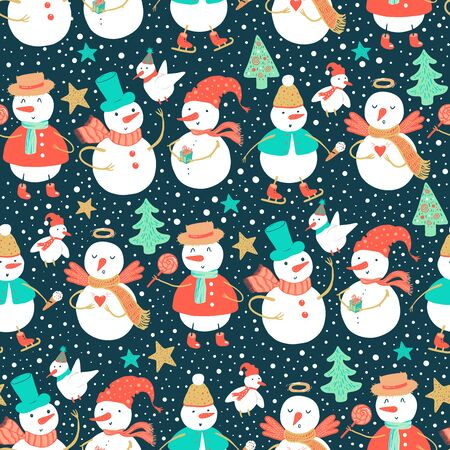 Vector holidays pattern of funny snowman and birds with Christmas tree, gifts, harts. Christmas and New Year background for design. Ilustração
