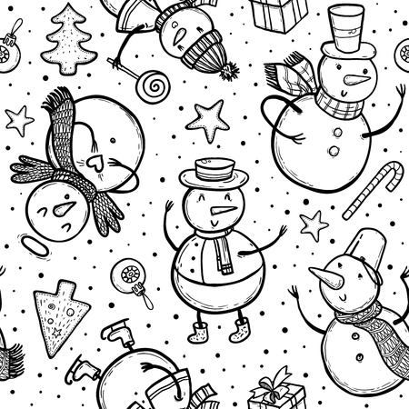 Vector doodle illustration of holidays pattern with snowman, Christmas tree, candy, snowflakes, gifts. Christmas and New Year template for design. Ilustração