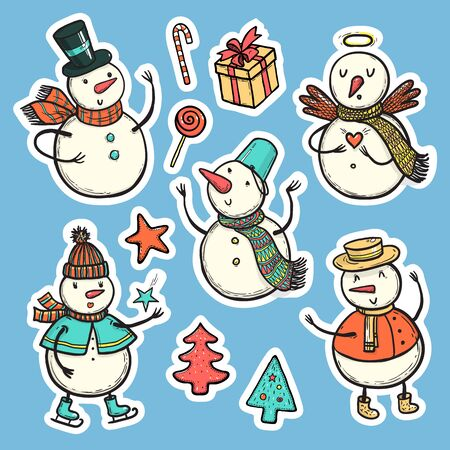 Vector stickers of holidays snowman with Christmas tree, candy, snowflakes, gift. Christmas and New Year set for design.