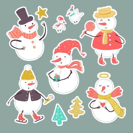 休日雪だるま、クリスマス ツリー、キャンディー、雪片、ギフト、鳥のベクトルのステッカー。クリスマスと新年は、デザインの設定します。
