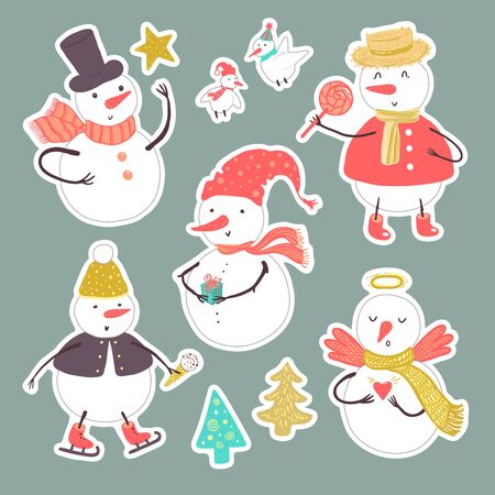 Vector stickers of holidays snowman with Christmas tree, candy, snowflakes, gift, birds. Christmas and New Year set for design.
