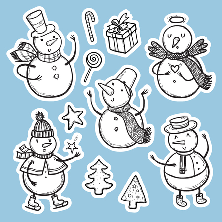 Vector illustration Christmas and New Year set of holidays stickers with snowman, Christmas tree, candy, snowflakes, gifts. Ilustração