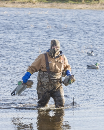 decoy: Hunter with Decoys Stock Photo