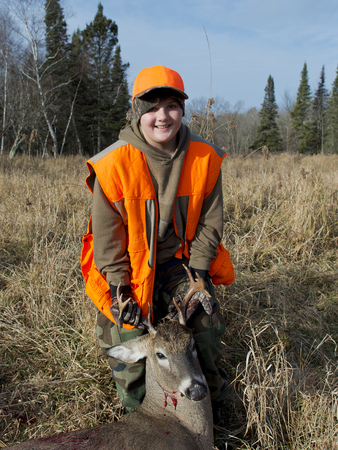 white tailed deer: Young Hunter