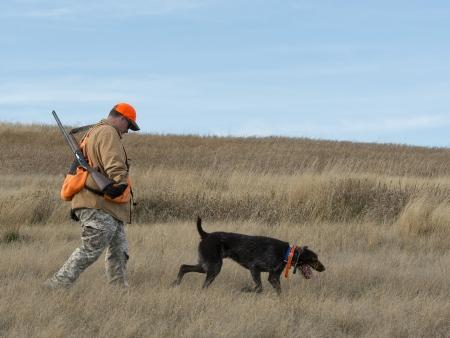 Hunter with his dog Standard-Bild